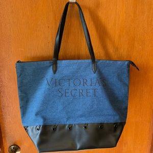 Victoria's Secret Large Denim Tote Bag & Pouch!